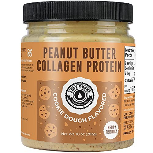 Keto Peanut Butter Protein Spread - Cookie Dough Flavored Peanut Butter with Collagen. Low Carb, Gourmet, High Protein, Healthy Snack