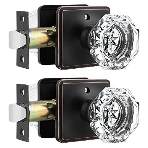 Orger Türknäufe mit Schloss, Sichtschutz, für Bett und Bad, achteckig, klare Kristall-Türgriffe, altmodisch, ölgerieben Bronze, 2 Stück