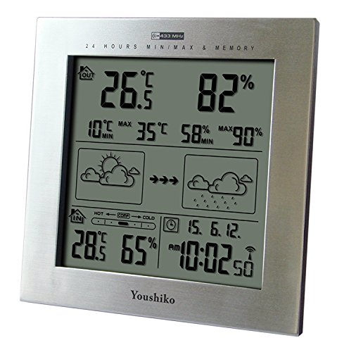 Youshiko Wireless Weather Station with Radio Controlled Clock ( UK Version ) , Indoor...