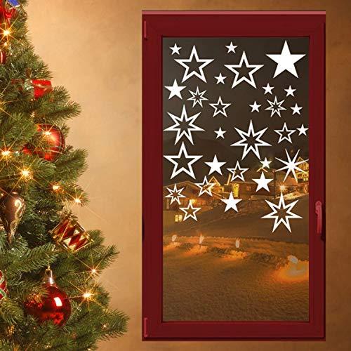 30 stuks witte sterren stickers, mixset, raamdecoratie voor Kerstmis raamdecoratie, raamdecoratie, wandtattoo decoratieve stickers, autostickers, kerstdecoratie, etalage binnen en buiten, 70001, wit