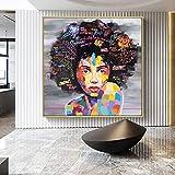 sakkdaull Póster Africano Impreso para Retratos Abstractos de Mujeres y niñas 40x50cm DIY Pintura Digital (Sin Marco)