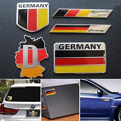 YELVQI 5 Piezas de calcomanías con la Bandera de Alemania, Emblema de aleación de Aluminio, Cualquier vehículo, camión, Motocicleta, RV, Scooter, SUV, Puerta, Ventana, Alemania