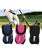 Tbest Bolsa de 3 Colores Protable para Bolsa de Pelota de Golf Bolsa pequeña para Guardar la Cintura Incluye 2 Bolas y 4 Camisetas (Azul/Negro/Rosa)