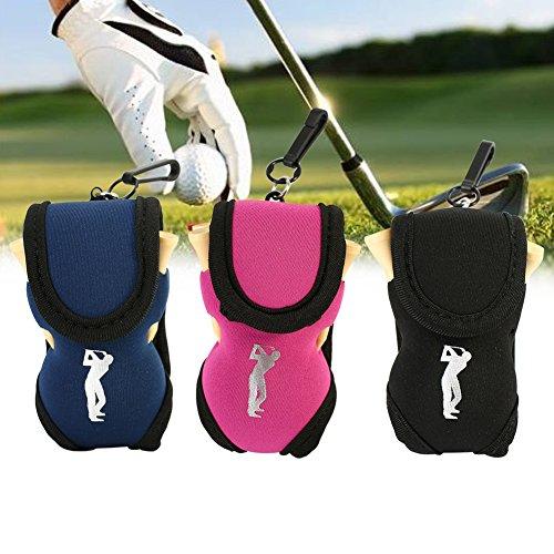Golfball Tasche Golf Tee Tasche Halter Pouch Clip Utility Pouch Sport Golf Zubehör mit T-Stücke(Blau)