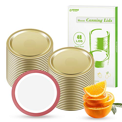 VEHHE 48 PCS Canning Lids Regular Mouth - Metal Split-Type Mason Jar Lids Leak Proof Canning Jar Lids with Silicone Seals Rings for Mason Ball Kerr Jars(Gold)