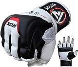 RDX, Guantes de gel MMA UFC lucha, saco de arena, guantes sparring, guantes de entrenamiento, Multicolor (Blanco/Negro), talla del fabricante: L