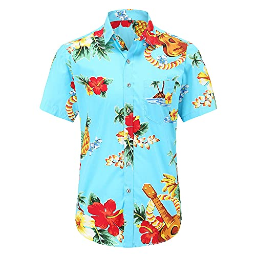 Hawaiana Camisa Hombre Moderno Urbano Ajuste Regular Cárdigan Hombre Shirt Verano Vintage Floral Estampado Bolsillo Hombre Manga Corta Casual Vacaciones Hombre Playa Shirt F-Blue 2 L