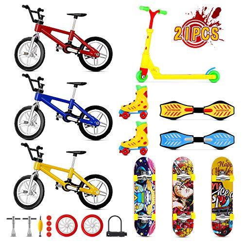 Mini Finger Toys Set, Finger Skateboard Fingerboard Finger Bike Finger Scooter Swing Board Roller Skate Tiny Toy with Replacement Wheels...