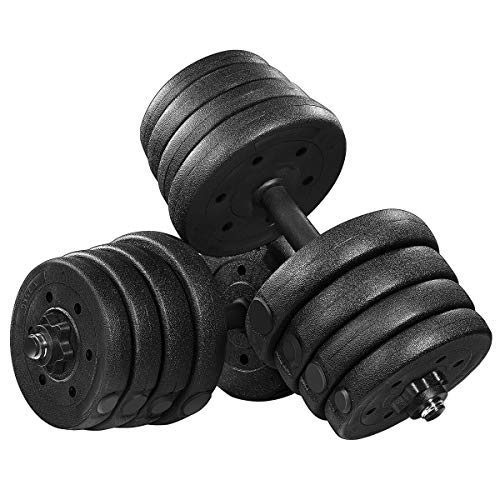 Homemaxs Adjustable Dumbbells Set 66LB, Solid Dumbbell Weights, Non-Slip Dumbbells Set with Easy-Adjusting Nuts and Durable Dumbbell Plates for Men and Women (Black)