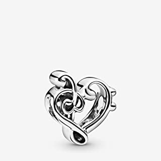 Heart Treble Clef 925 Sterling Silver Charm - 798346