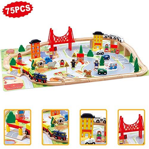 jerryvon Holzspielzeug Track Erste Eisenbahn Set Kinder Magnetische Verbindung Eisenbahnserienspielzeug Bateriebetriebene Lokomotive für Kinder ab 3 4 5 Jahre