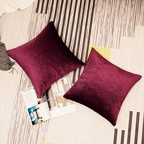 Homiin Purple Decorative Pillow Covers 18 x 18 inch, Velvet Throw Pillow Covers Set of 2, Premium Quality Artistic Elegant Square Fall Pillow Covers, Modern Fashion Style Pillow Cases of Home Decor