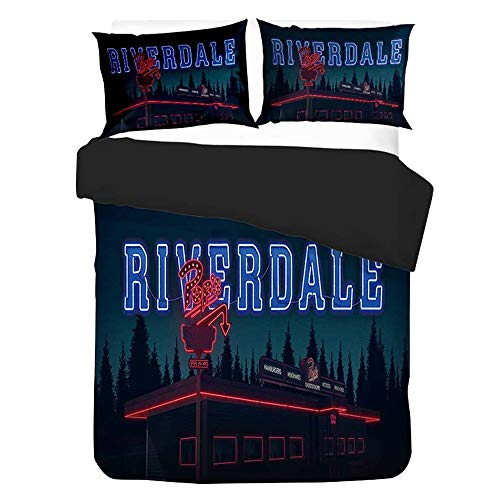 KIACIYA Riverdale Bettwäsche Jughead, Southside Serpents 135x200 Bettwäsche Set mit Reißverschluss Teenager Mädchen Kinder 3D Galaxy Winter Riverdale Pop's Bettbezug mit Kissenbezug (13,135x210cm)