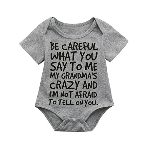 Clearance Sale 0-24 Months Newborn Infant Baby Kids Girl Boy Letter Print Romper Jumpsuit Sunsuit Outfits Clothes (Gray, 12-18 Months)