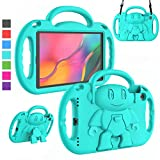 LTROP Kids Case for Samsung Galaxy Tab A 10.1 (2019 Released) SM-T510/T515, Light Weight Shockproof Shoulder Strap Handle Stand Kids-Friendly Case for Galaxy Tab A 10.1' 2019 Release - Turquoise