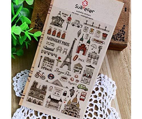 1pc Paris Frankreich Französisch-Pvc Transparent Comic-Vintage-World Travel Aufkleber-Handwerk Aufkleber Resin Scrapbooking Diy Kawaii Tagebuch Planner Kugel