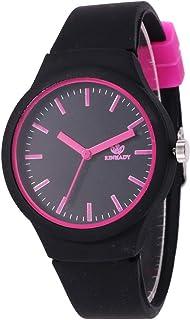 bismarckber Reloj de pulsera casual de cuarzo con esfera redonda de color caramelo para mujer