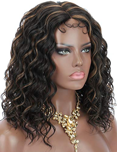 Kalyss Middle Lace Parting Short Curly Ocean Weave Brown Highlights Premium Japan High Temperature Synthetic Hair Lace Wigs for Women