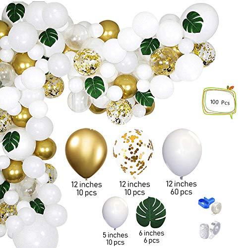 Comius Sharp Ballon Girlande Ballonbogen Kit, Geburtstagsdeko Luftballons, 100 Stück Weißgold Party Thema Ballon Girlande Set, Hawaiian Ballon Set, Latex Konfetti Luftballons, Partyballon