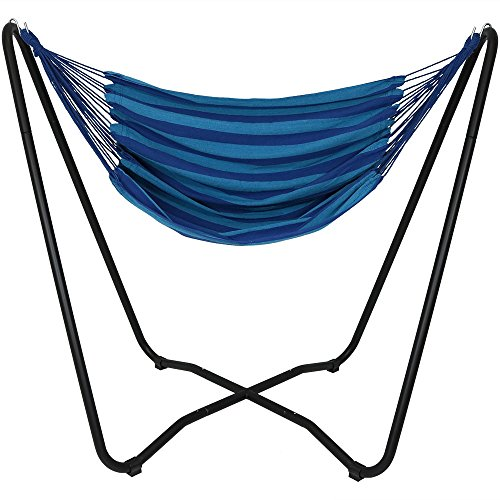 Sunnydaze Hanging Rope Hammock Chair Swing with Space-Saving Stand - Hanging Chair with Stand for Backyard & Patio - 330-Pound Capacity - Beach Oasis