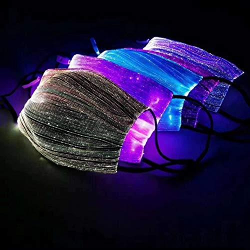 QLGRXWL LED Blinkende Gesichtsmaske,Wiederaufladbare USB 7 Farben Halloween Rave,Männer Frauen Maske Halloween Weihnachtsmusik Festival Party,Schwarz