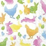 Tovaglioli di carta tradizionali di lusso IHR con coniglietti e polli, 50,8 cm, confezione da 3 strati