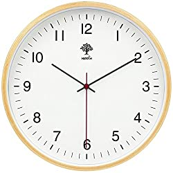 HIPPIH Non Ticking Wooden Wall Clock, 8 in Decorative Silent Wall Clocks with Concise & Modern Design for Office, Kitchen, Bedroom, Living Room, Classroom