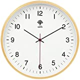 HIPPIH Silent Wall Clock - 9 Inch Non Ticking Digital Quiet Sweep Decorative Vintage Wooden Clocks Easy to Read for Office/Kitchen/Bedroom/Living Room/Classroom, Upgraded