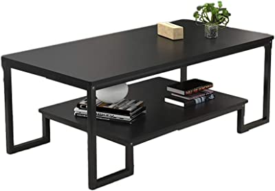 JSZMD Modern Minimalist Living Room Coffee Table Creative Rectangular Double Table Office Coffee Table (Color : Black)