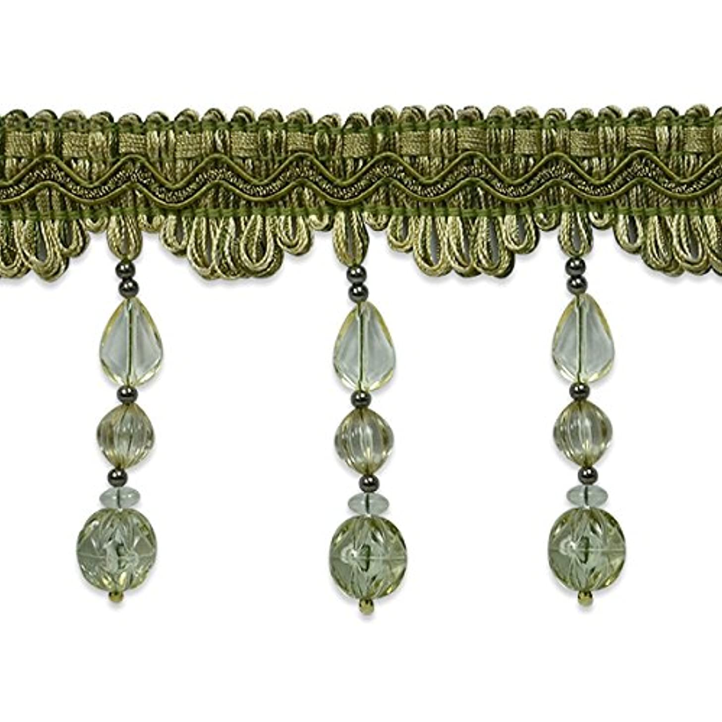 Expo International Tessa Bead Fringe Trim Embellishment, 20-Yard, Sage