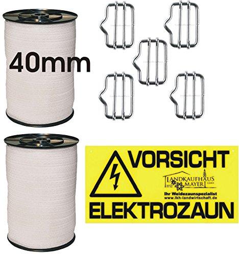 Landkaufhaus Mayer 2 xWeidezaunband Weiß 40mm Rolle 200m 8x0,16 Niroleiter + 5 Bandverbinder + Warnschild