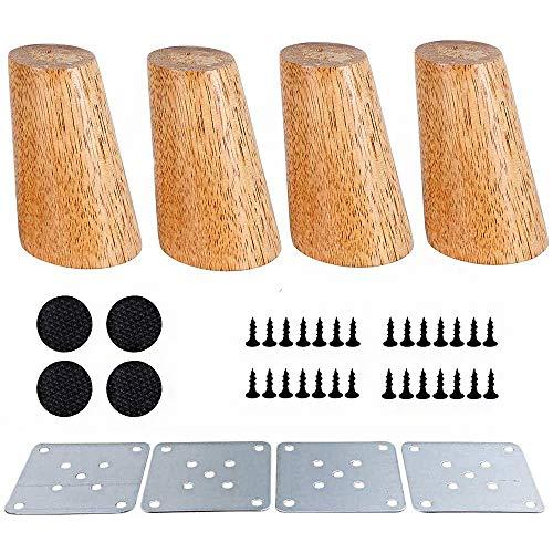 Tingz 4 patas de repuesto para muebles de madera 10 cm roble Sofá de madera Patas inclinadas Cama Armario Mesa de té TV Gabinete Muebles de repuesto para muebles Cono de patas