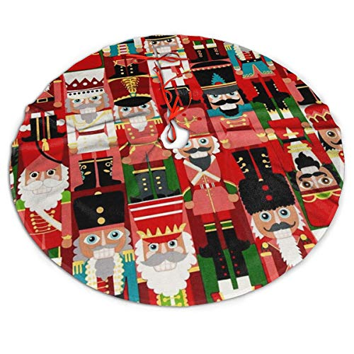 MSGUIDE Christmas Time Nutcracker Christmas Tree Skirt Ornaments 48inch Tree Skirt for Party Holiday Christmas Decorations Xmas Tree Mat Decorations Indoor Outdoor