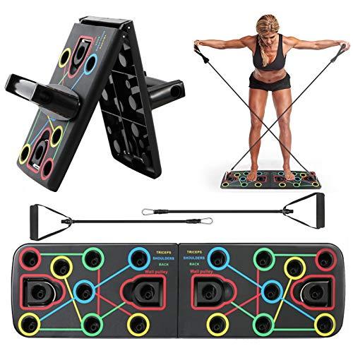 MEckily Push up Board, 13 in 1 Push up Board, Multifunktionale Fitness Geräte Push Up Board,Liegestütze Brett,geeignet für Muskeltraining Fettabbau Training(1 Paar Griffe/1 Paar Widerstandsbänder)