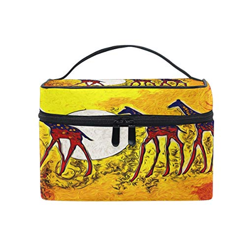 Makeup Bag, Retro African Animal Portable Travel Case Large Print Cosmetic Bag Organizer Compartments for Girls Women Lady