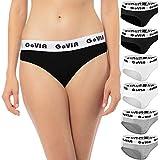 6er Pack GoVIA Damen Bikinislip Slips tiefer Bund aus Baumwolle mit breitem Gummizug 3922 drei Farben- Gr. 36 (S)