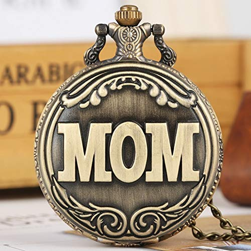 GIPOTIL Taschenuhr Retro Bronze Big MOM Brief Quarz Taschenuhr Halskette Anhänger Familie Souvenir Geschenke für Mama Mama am Geburtstag der Mutter