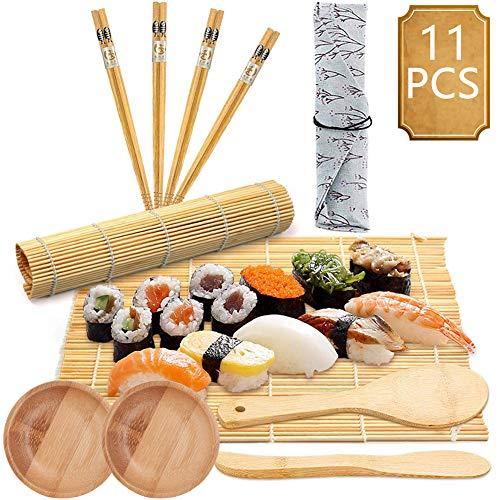 BESTZY 11pcs Kit para Hacer Sushi de Bambú Preparar Sushi Fácil Y Profesional Con Este Juego