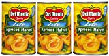 Del Monte Lite Unpeeled Apricot Halves in Extra Light Syrup, 15 oz, 3 pk