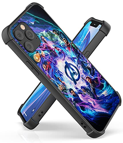 Fit for iPhone 12 and 12 Pro Case (6.1') with 4 Corners Shockproof Protection Anime Design Customization Cases for Men and Women (04-Avengers-Infinity-MV)