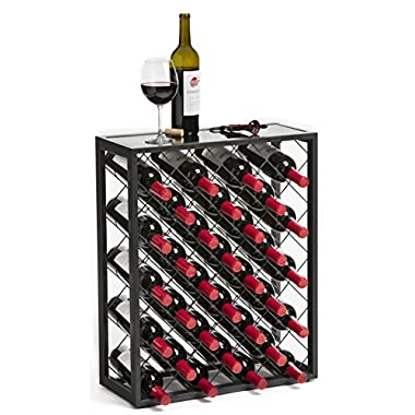 Mango Steam 32 Bottle Wine Rack Glass Table Top, Pewter