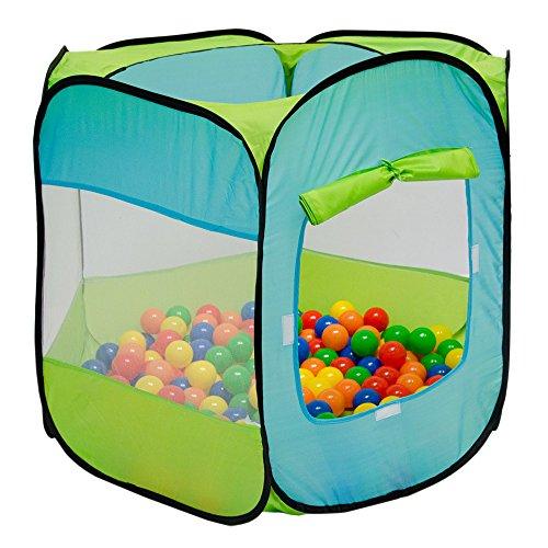 LittleTom Bällebad Spielzelt 100x100x72cm - Popup Baby Spielhaus Kinder-Zelt Blau