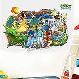 YOUKU Pokemon Pokemon 3D Effets spéciaux Autocollant Mur Autocollant Dessin animé Enfants Chambre Auto-adhésif Papier Peint Autocollant