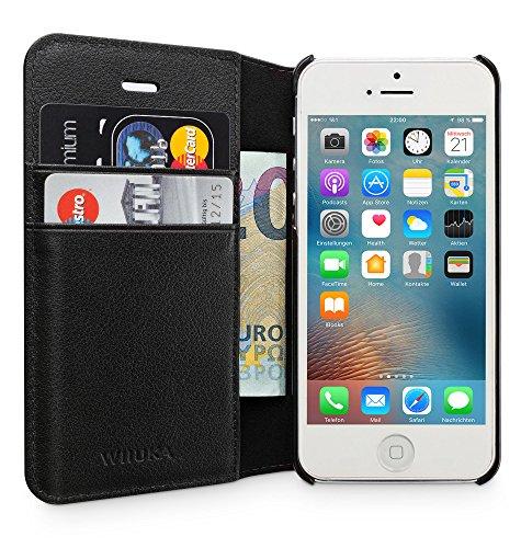 WIIUKA Echt Ledertasche - TRAVEL Away - für Apple iPhone 5 / 5S / SE mit DREI Kartenfächern, extra Dünn Tasche Schwarz Premium Design Leder Hülle