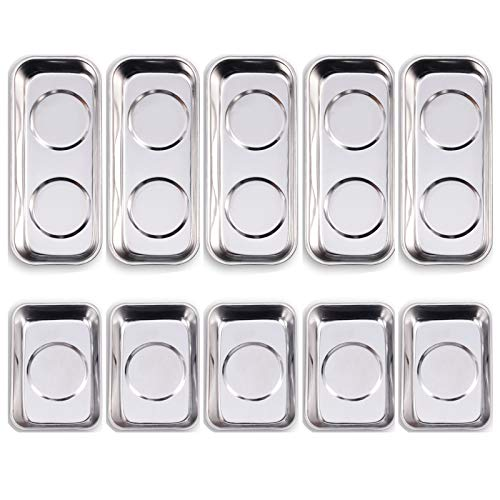 10-Piece Magnetic Tray Holder (3.6' x 2.4' / 5.9' x 2.5' Square), Stainless Steel Magnet Trays Set For Socket Screw Nuts Bolts Metal Parts & Tool Organization