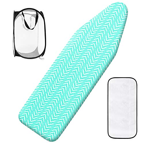 Seiritex Silicone Ironing Board Cover with Elastic Edge Scorch and Stain Resistant Cotton Thick Padding 18quot x 49quot Ironing Board Cover and Pad 1 Popup Laundry Basket and 1 Protective Scorch Mesh Cloth