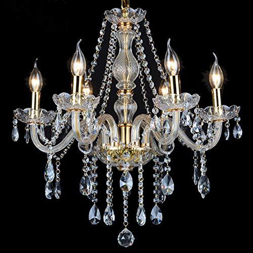 Lampadario di Cristallo Candela Colore Ottone Anticato Gocce Cristallo Decorativo Lampade-5 Luci