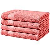 AmazonBasics Performance Bath Towels, Set of 4, Coral Pink