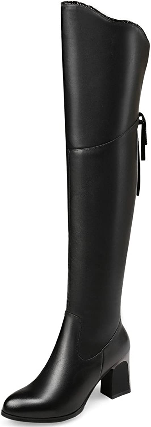 Nine Seven Genuine Leather Women's Pointed Toe Chunky Heel Side Zip Handmade Back Bowknot Knee High Boots