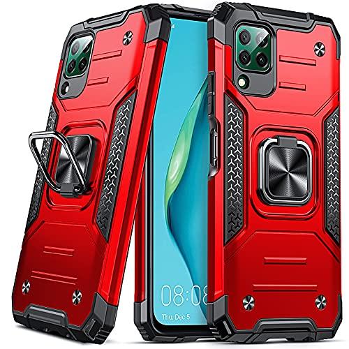 DASFOND Armor Hülle für Huawei P40 Lite 4G Hülle Militärische Stoßfeste Handyhülle [Upgrade 2.0] Cover 360 ° Ständer mit Auto Magnet,Rot